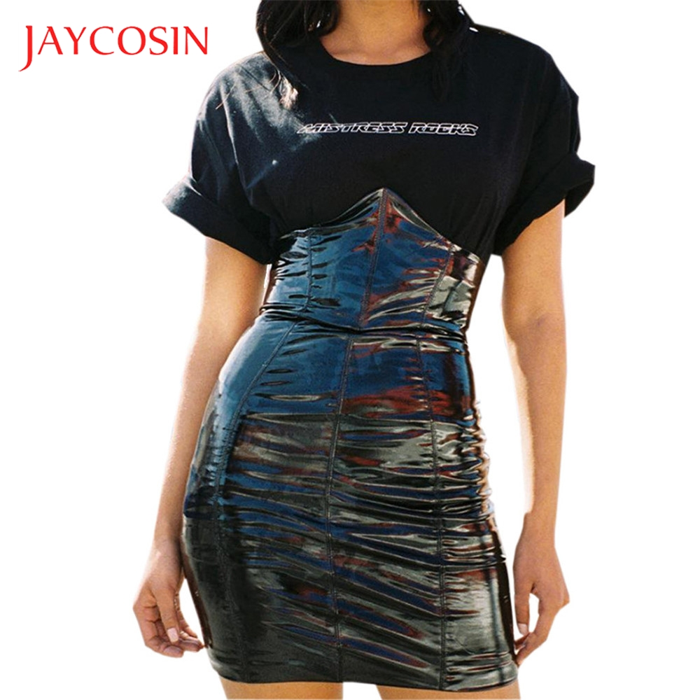 JAYCOSIN  High Waist Women Short Sexy Mini Skirt  Leather Paint Zip Pencil Skinny Slim  Empire Womens Skirts New Arrival 2019