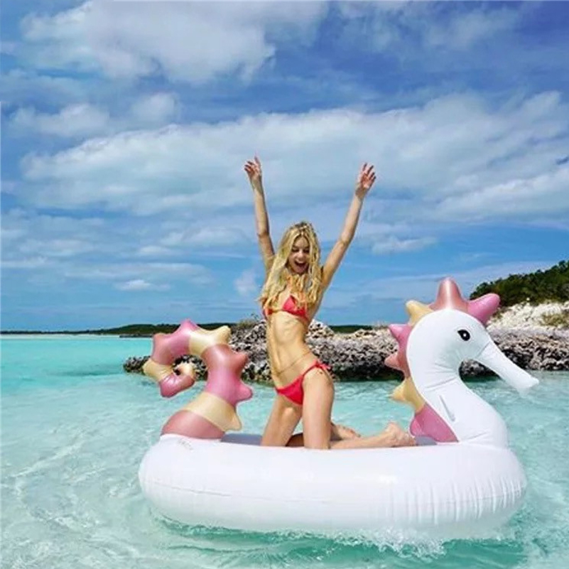 New Swim Pool Giant Seahorse Inflatable Pool Float Newest Swim Ploat for Adult Water Party Fun Toys Ride on Air Mattress