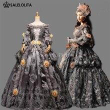Высококачественное винтажное серое платье 18-го века в стиле рококо барокко Марии Антуанетты платье на бал эпохи Возрождения платья для карнавала