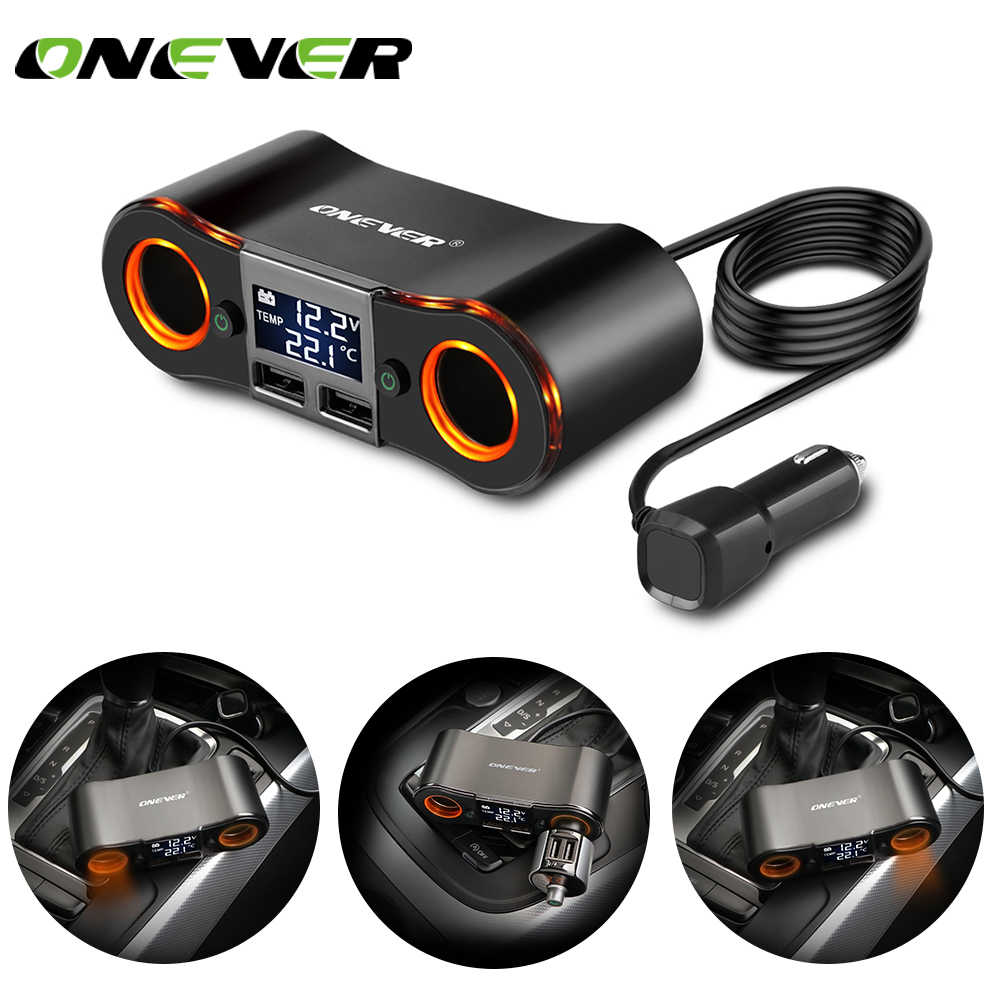 Onever 2 in 1 3.5A Dual USB Car Cigarette Lighter Socket adapter 2 Cigarette Lighter Car USB Voltage  LED Display For Phone DVR