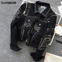 Denim jacket Women Basic Coats 2018 New Punk style Denim Jacket Women Bomber Jacket Black Harajuku Jeans Coat Casaco Feminino
