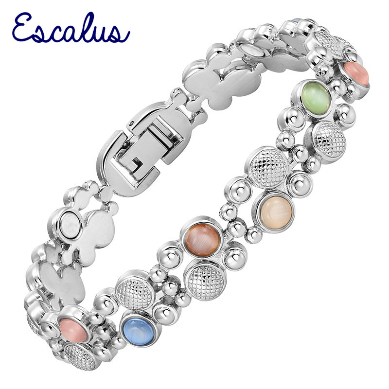 Escalus Women's Colorful Cat Eye Stones Magnetic Jewelry Bracelet For Women Silver Color Charm Health Bracelets Wristband