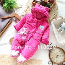 Бесплатная доставка Розничная осень зима ползунки одежда младенца рождество ребенка комбинезон девушка новорожденный теплый хлопка в целом
