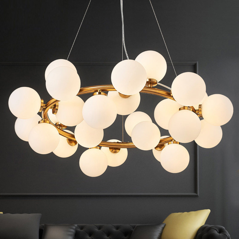 Post modern living room restaurant long lantern personality creative pendent lamp bubble glass ball magic beans