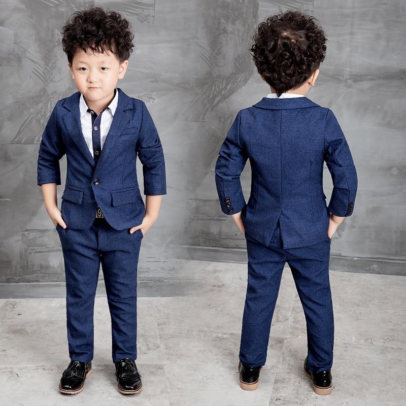 Moda niños niños bebés blazers trajes formal ropa azul de