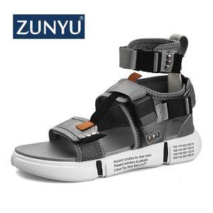 Image 1 - ZUNYU 2019, nueva moda de verano para hombre, zapatos de Gladiador, sandalias con plataforma abierta, sandalias de playa, botas, estilo romano, sandalias de lona para hombre