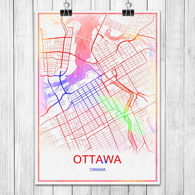 Famous colorful world city map ottawa canada print poster abstract coated paper bar cafe living room
