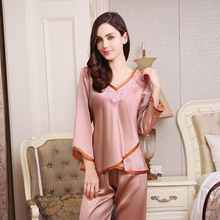 Sexy Silkworm Silk Pajama Sets Female Thin Style 100% Sleepwear Women Delicate Embroidery Long-Sleeve Pyjama YE1735A