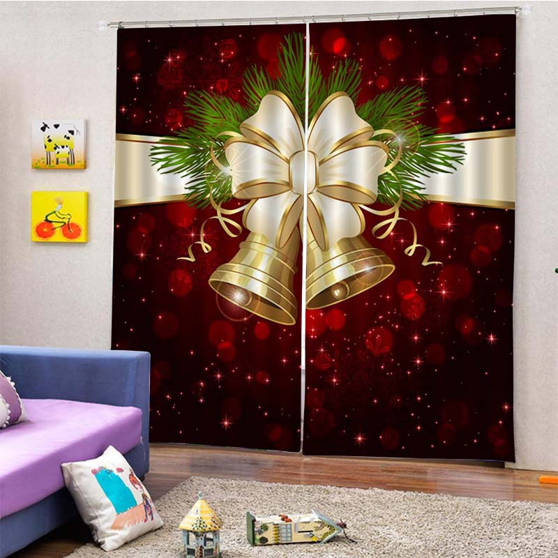 Customization  Colorful Blackout Curtain Ink Painting Christmas Curtains For Living Room Bedroom