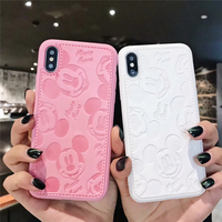 Cartoon Minnie Mouse Leather Case For iPhone 8 7 6 6S Plus X Xs Max XR 3D embossing Painting Soft leather disneys Cover