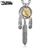 ZABRA Pendant 925 Sterling Silver Vintage Golden Indian Chief Feather Necklace Men Punk Necklaces Pendants Jewelry