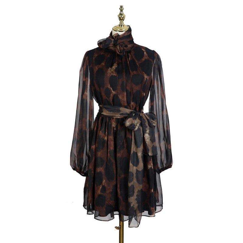 2019 Spring and Summer New Bow Streamer Waist Irregular Dress Leopard Dress Women KZ0424 8