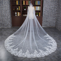 Romantic 3 M Wedding Veil Cathedral One Layer Lace Appliqued Long Bridal Veils With Comb Woman