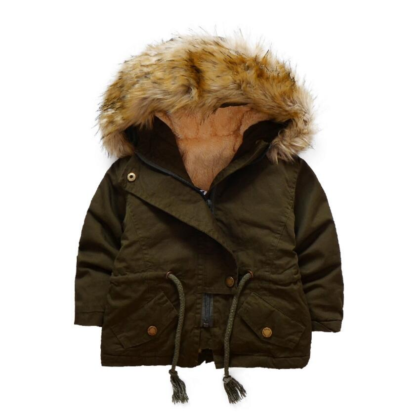 New Thick Wool Unisex Kids Girls Boys Winter Coat Hooded Warm Coat Jackets For Children Fashion Army Coat Kids Coats Parka стоимость