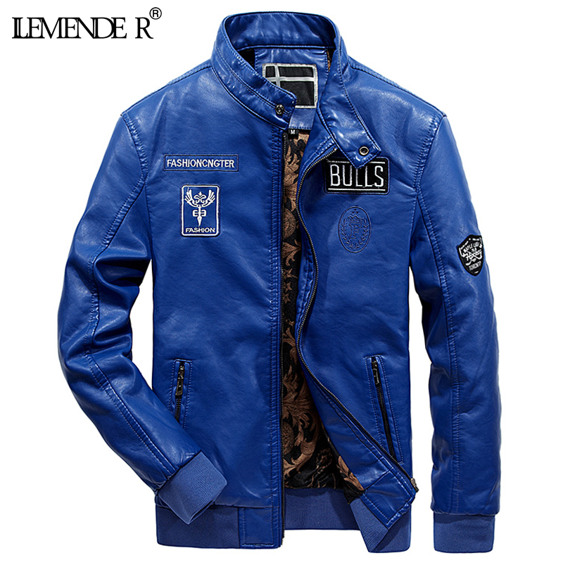 LEMENDER Brand Autumn pu mens leather jacket High quality male leather jacket men Casual Motocycle Faux leather Jacket and Coats
