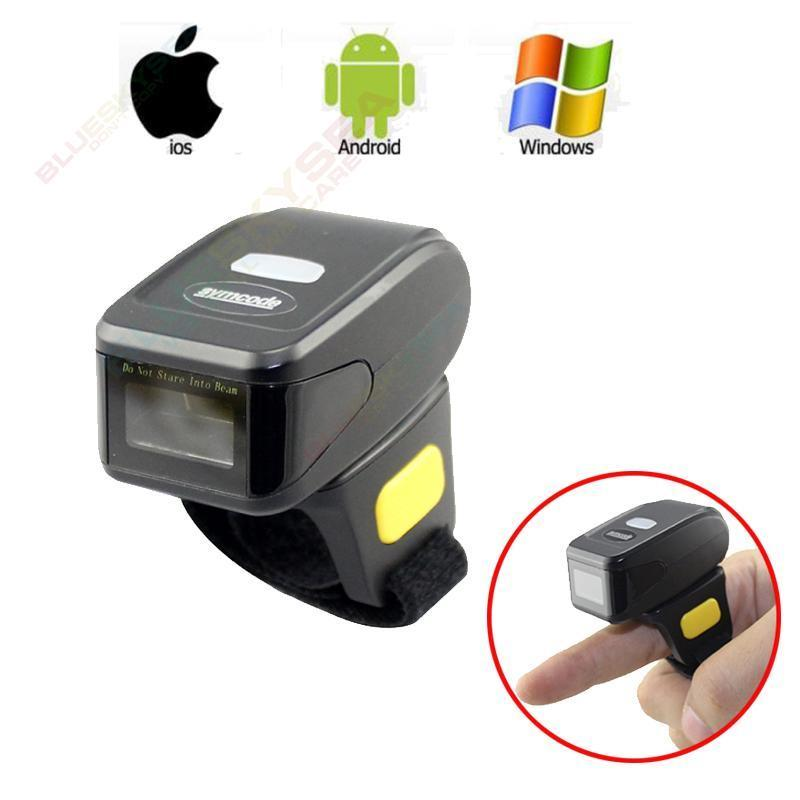 Portable 1D Bar Code Scanner Bluetooth Wireless Mini Ring Finger Barcode Reader 1D Barcode Scanner For Android IOS Windows scanhero pocket wireless bluetooth barcode scanner laser portable reader red light ccd bar code scanner for ios android windows
