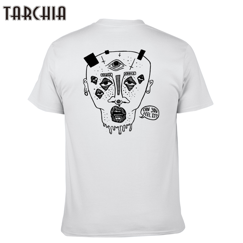 TARCHIA 2019 new summer brand t-shirt cotton tops tees men short sleeve boy casual homme tshirt t plus fashion can you feel it