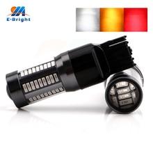 цена на 4pcs T20 Led Lens 4014 66 SMD 7440 7443 8000 Car Light Bulbs Turn Signal Brake Lights 990Lm White Red Amber 12V 24V DC