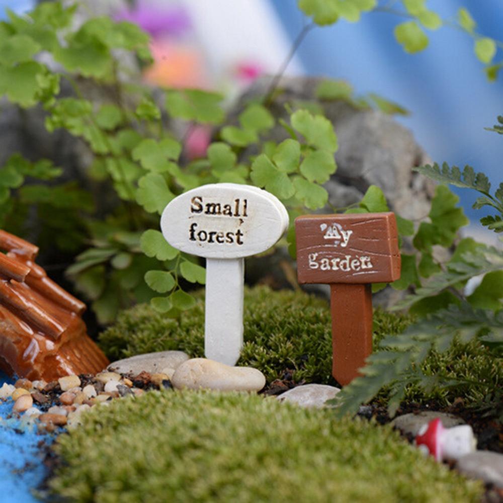 3PCS DIY resin Crafts sign board signboard miniatures plants fairy ...