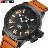 2017 New Fashion Mens Watches Top Brand Luxury Leather Black Quartz Watch Curren Men Wristwatch Casual