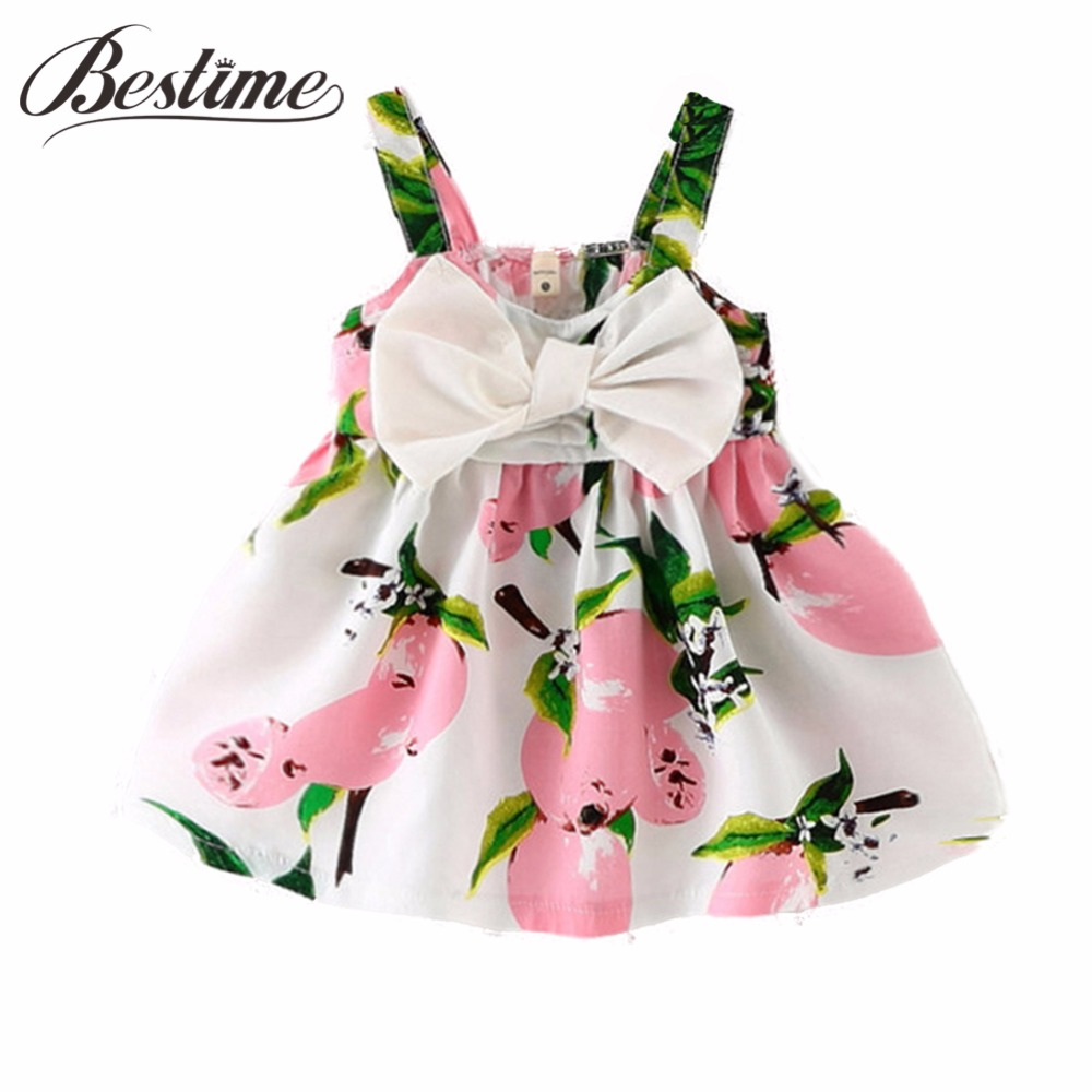 0-24Months Summer Baby Dress Lemon Print Infant dresses Cotton Sleeveless Princess Birthday Dress for Baby Girl Clothes