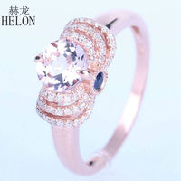HELON Hot Selling ! Morganite & Diamonds & Sapphires Engagement Graceful Women's Jewerly Ring Solid 14K Rose Gold Wedding Ring