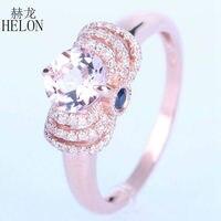 HELON Hot Selling! Morganite & Diamonds & Saffieren Engagement Graceful vrouwen Jewerly Ring Solid 14 K Rose Gold Wedding Ring