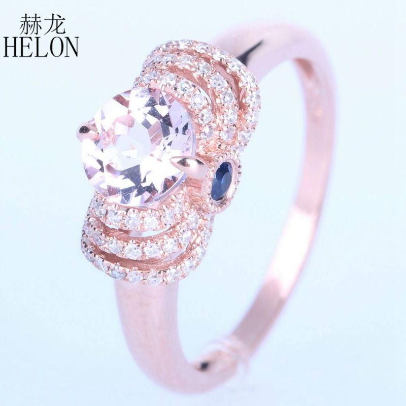 helon hot selling morganite diamonds sapphires engagement graceful womens jewerly ring solid 14k - Selling Wedding Ring