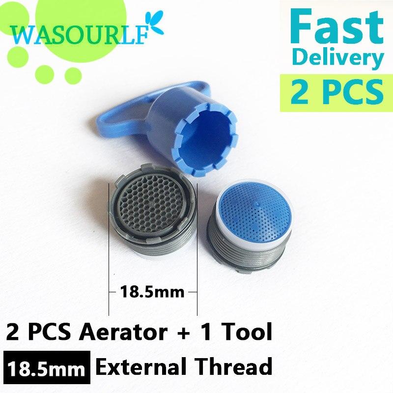 WASOURLF 2PCS 18.5mm Male Thread Water Saving Tap Aerator Faucet Bubble Kitchen Basin Faucet Accessories Bathroom Wholesale