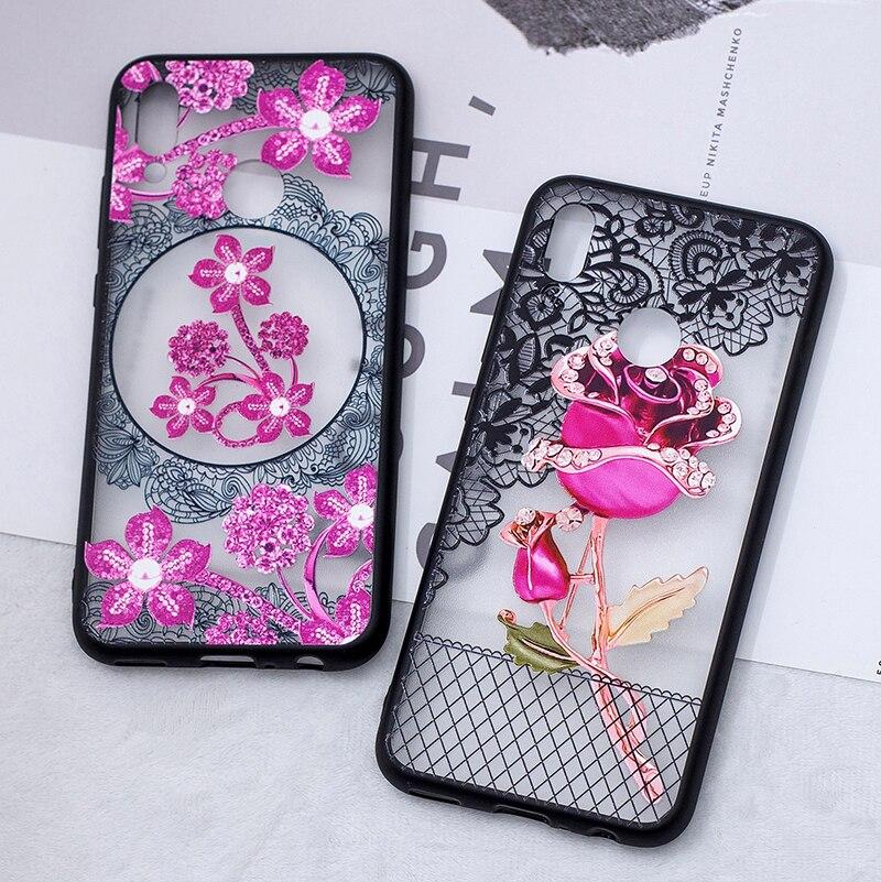 3D цветок цветочный кружево чехол на huawei honor 10 lite чехлы красивый цветочный принт пластик спина чехол хуавей хонор 10 лайт чехла чехле бампер ке...