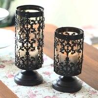 Europe Glass Candle Holder Retro Wrought Iron Glass Candle Holders Metal Candle Holder Candlestick Home Wedding