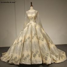 Hochzeitskleid Mới Cạp Ren Cổ Kim Sa Tay Dài Bầu Lấp Lánh Vàng Champagne Dubai Áo Cưới Công Chúa Weddin