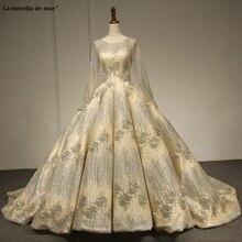 Hochzeitskleid nowa miarka neck koronkowe cekiny długa suknia balowa z rękawami musujące szampańskie złoto dubaj suknie ślubne księżniczka weddin