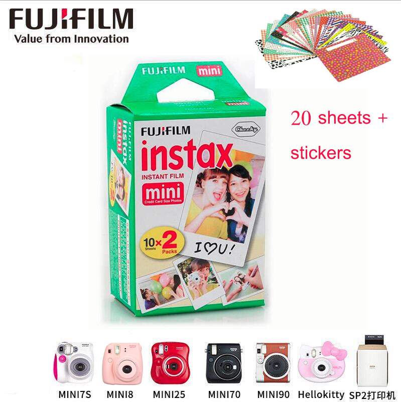 High qulaity 2X Fuji White Original Fujifilm Instax Film For polaroid Mini 7s 8 10 20 25 30 50s 90 Camera Share SP-1 lomo instan