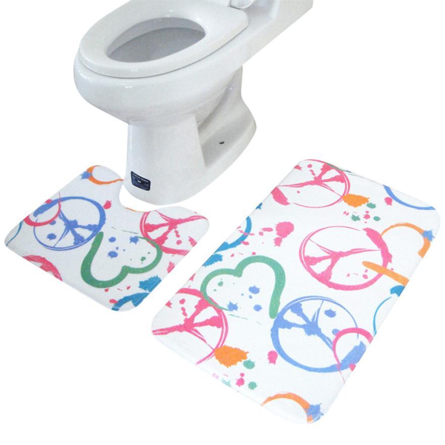 New 2PCS Rug Memory Foam Bathroom Rug Mat Floor Carpet Set Hot