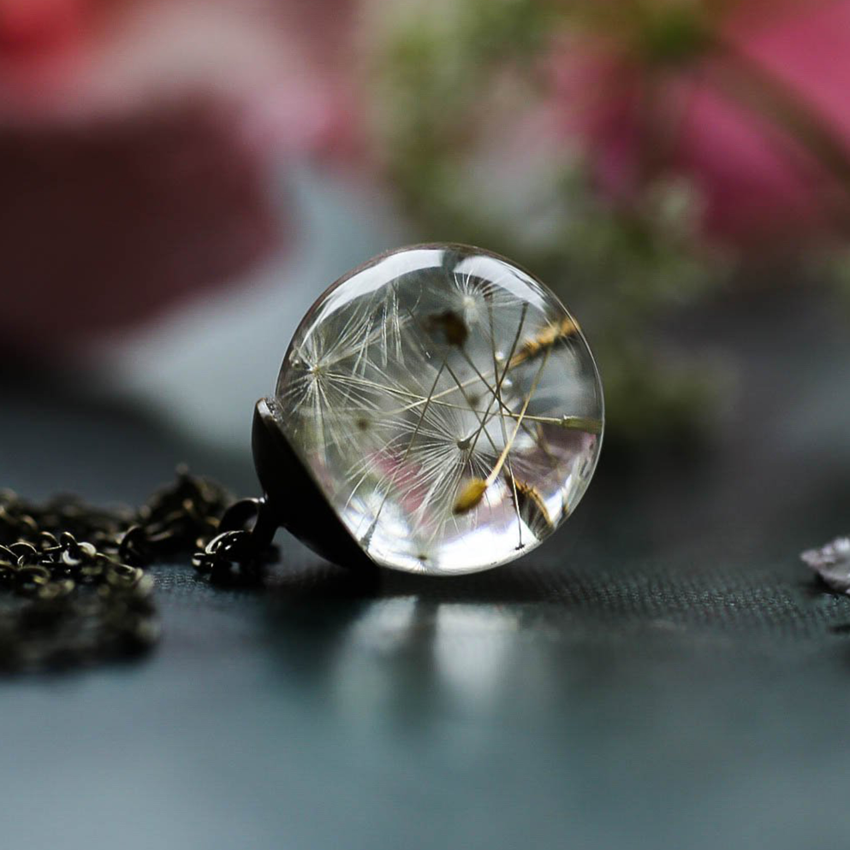 Dandelion Wishing Necklace Real Dandelion Seeds In Clear Crystal Ball Pendant Necklace Handmade Gift for Her