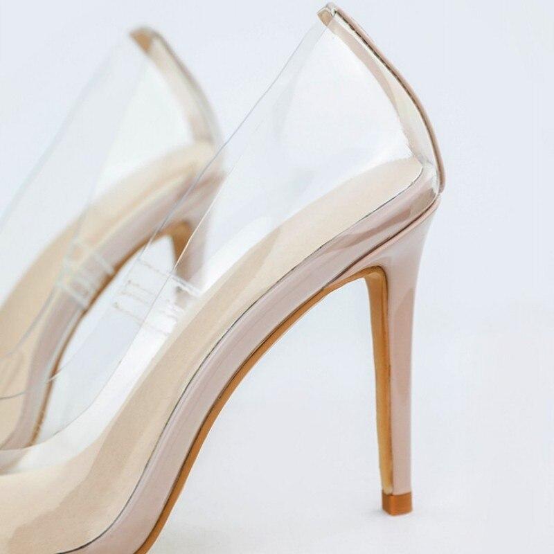 Weibliche beige Schuhe High Spitz Black Transparent blue white orange Damen Hochzeit Frau Mode Sapatos Heels Party Hakken Pvc Sexy Pumpt yellow pink Mulher nzSTpT