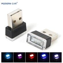 CARRO MODERNO 1 pcs Carro USB CONDUZIU a Lâmpada de Iluminação de Emergência Universal PC Interior Atmosfera Luzes Decorativas Luz Vermelha/Azul /branco 5 v