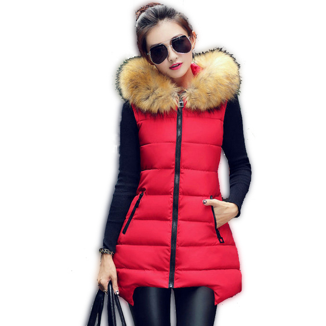 1PC 2016 Winter Long Vest Women Colete Feminino Faux Fur Hooded Cotton Padded Outerwear Gilet Veste Femme