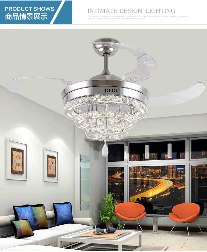 LED Crystal Chandelier Fan Lights Chandelier Fan Crystal Lights Living Room  Minimalist Restaurant Modern Fan With Remote Control In Ceiling Fans From  Lights ... Part 97