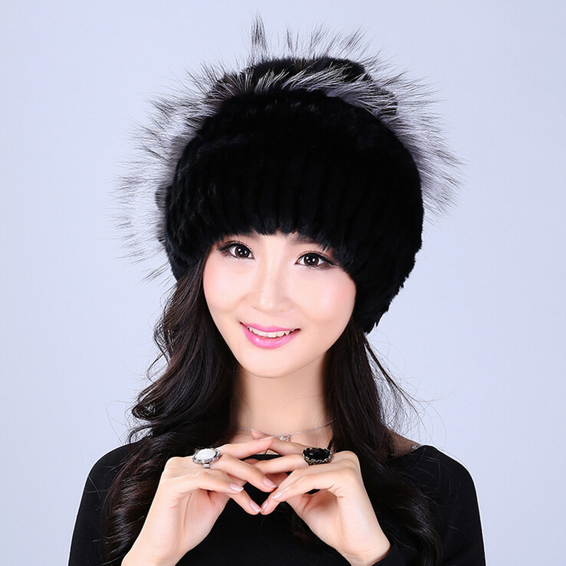 YWMQFUR Winter women rex rabbit fur hat with fox fur flowers skullies knitted beanies good quality