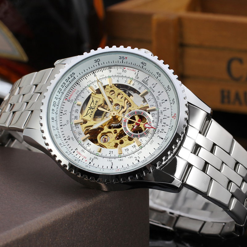 Luxury Skeleton Winner Automatic Watch for Men Stainless Steel Bracelet Mechanical Wristwatches with Gift Box стоимость
