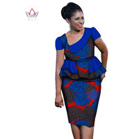 Summer African Skirt Sets For Women 2 Piece Skirt Set Ladies Plus Size African Clothing Top With Skirt WY1333