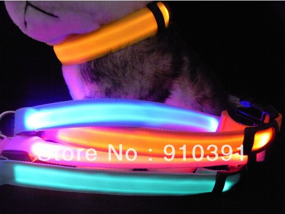 Free shipping adjustable led flashing dog collar as luminous dog neck strap as outdoor pet accessory product accept dropship.