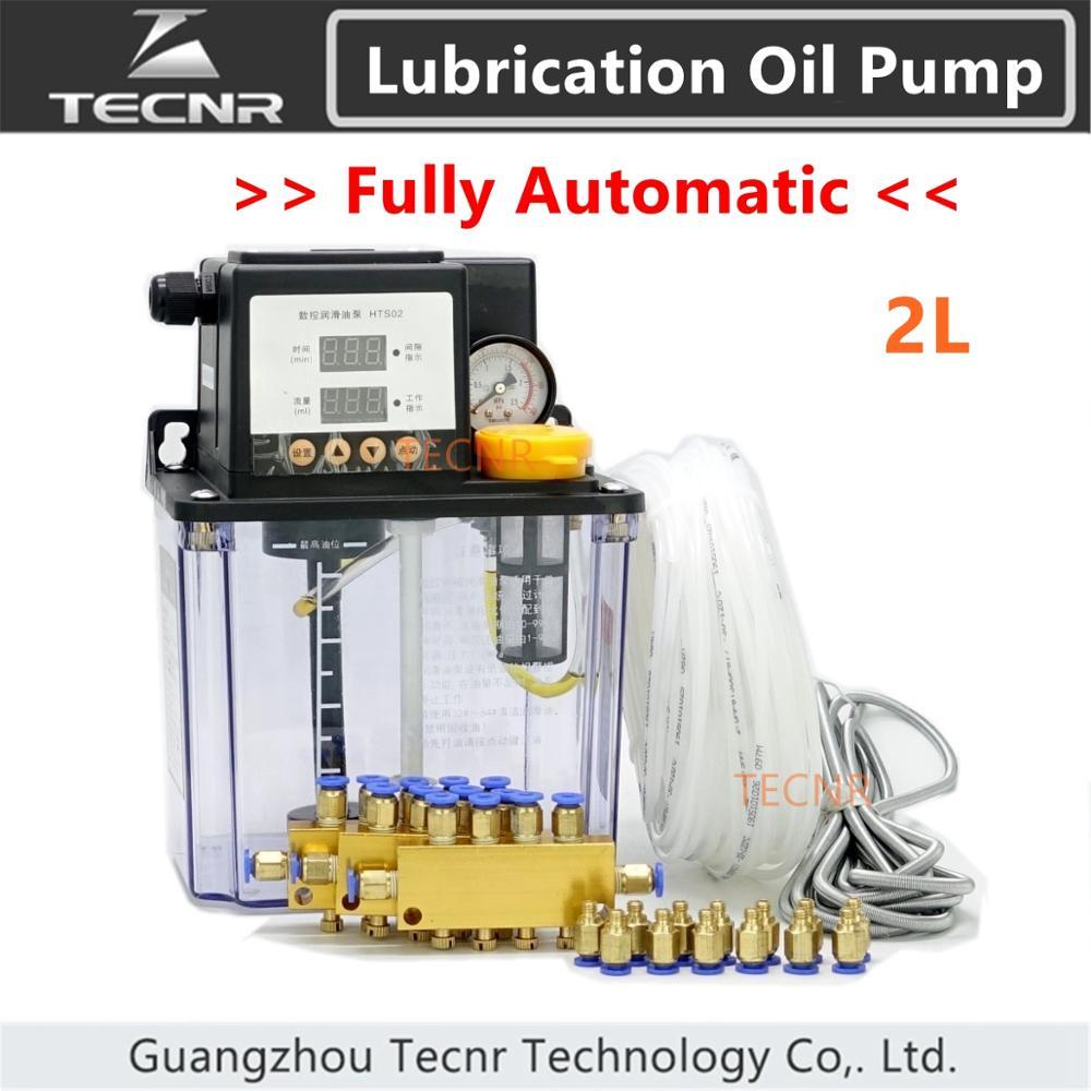 TECNR ensemble complet CNC pompe à huile de lubrification automatique 2L numérique électronique minuterie pompes à engrenages pour machine à CNC