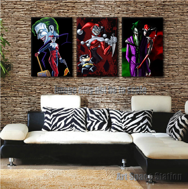 Dc Comics Wall Art aliexpress : buy harley quinn batman joker dc comics poster