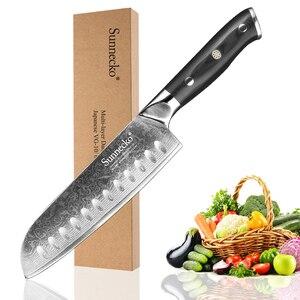 Image 2 - SUNNECKO 5 قطعة سكاكين المطبخ مجموعة Santoku فائدة سكين التقشير دمشق الصلب اليابانية القاطع أداة G10 مقبض الخبز سكين الطاهي