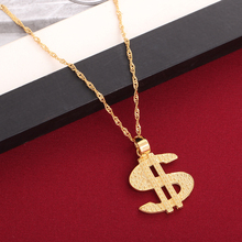 dc563367da61 Hombres hip hop placa de oro dólar ee.uu. colgante collar femenino Cuerpo  Collares