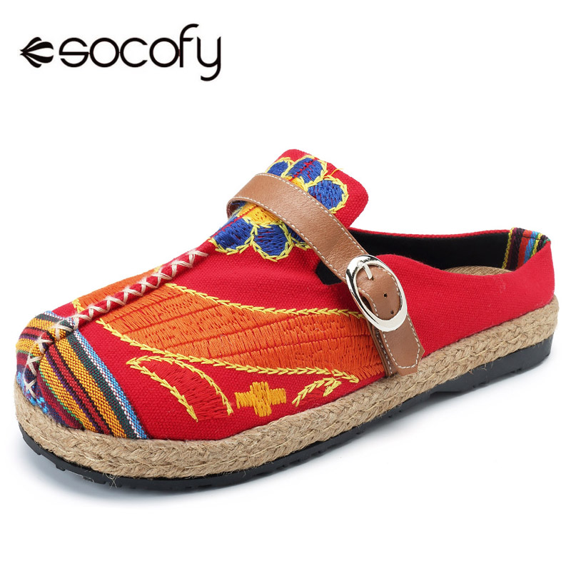 Socofy Canvas Vintage Ethnic Shoes Woman Breathable Backless Slip-on Flats Summer Bohemian Retro Casual Women Shoes Zapatos New