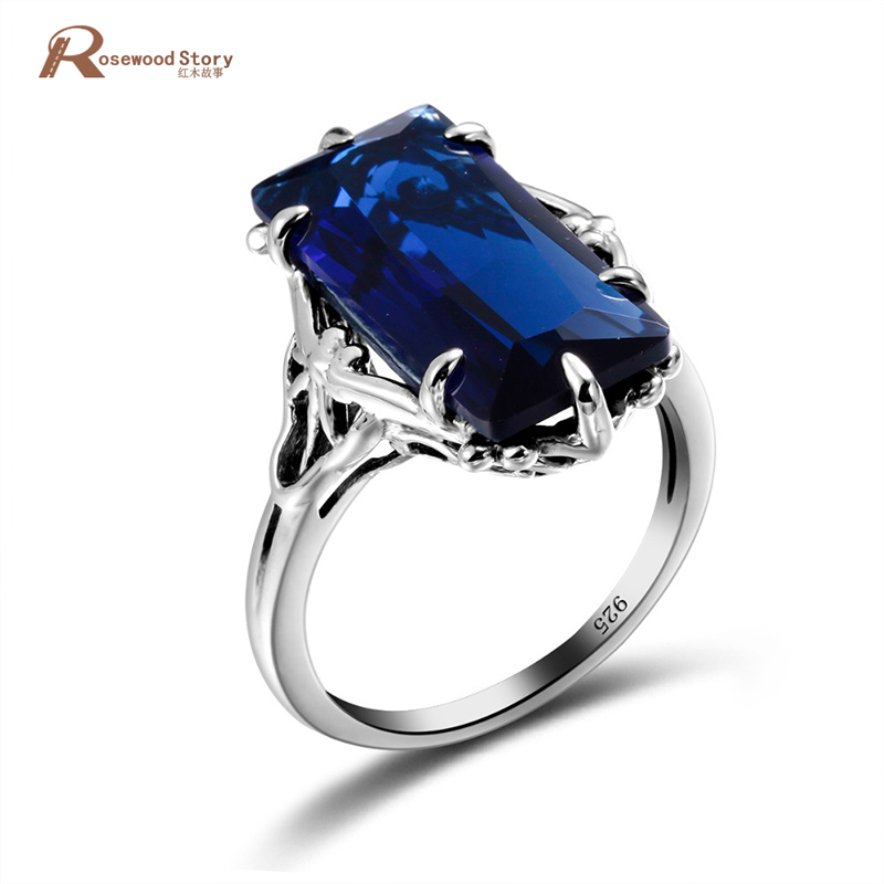 100% Handmade Real 925 Sterling Silver Classic European American Big Lab Sapphire Stone Anniversary Ring Fine Jewelry Best Gift